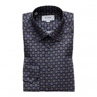 Eton Shirts Slim Fit Navy Medallion Print Shirt