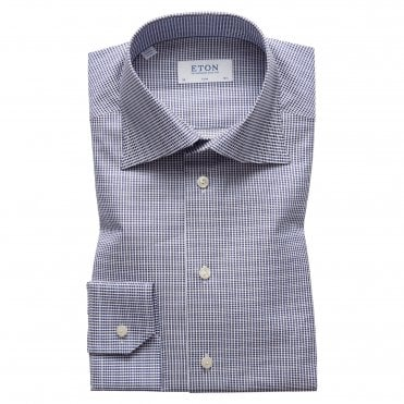 Slim Fit Navy Satin Eton Shirt With High Collar