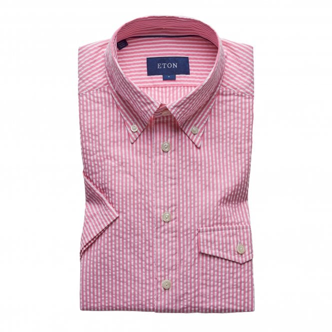 Eton Shirts Slim Fit Pink Stripe Seersucker Eton Shirt