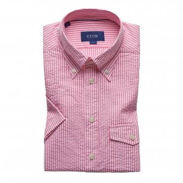 Slim Fit Pink Stripe Seersucker Eton Shirt