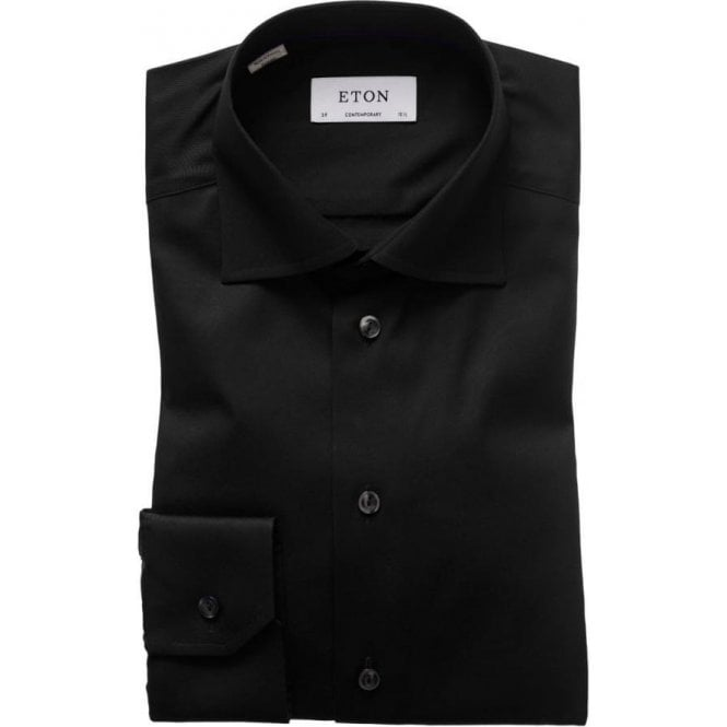 Eton Shirts Slim Fit Signature Twill Black Shirt 30007931118