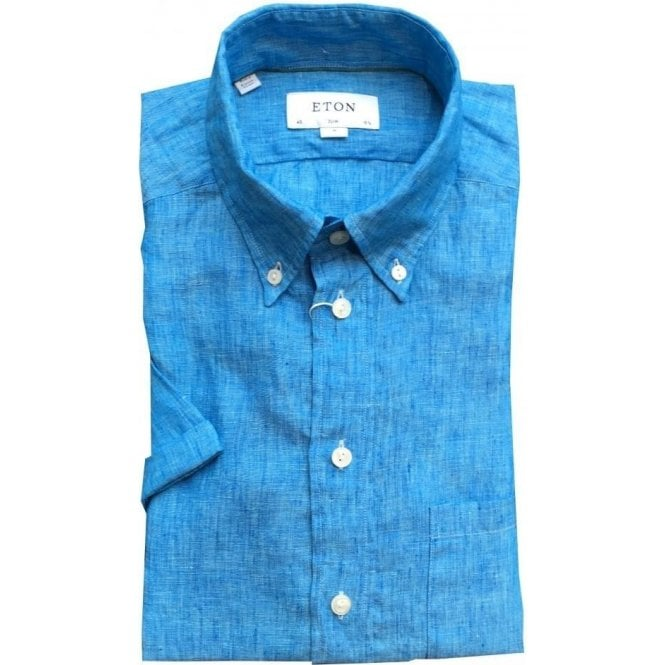 Eton Shirts Slim Fit Sky Blue Faded Short-Sleeve Linen Shirt 0252538223