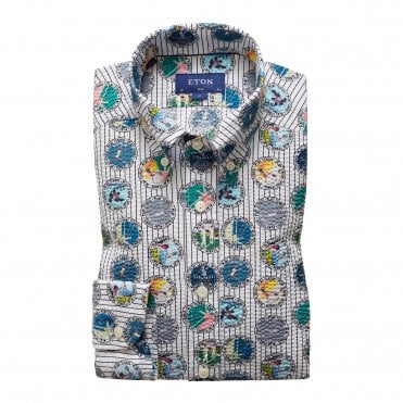 Slim Fit Tennis Print Seersucker Eton Shirt