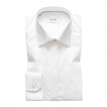 Slim Fit White Eton Dress Shirt