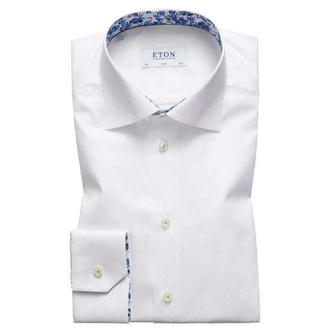 Eton Shirts Slim Fit White Eton Shirt With 'Floral' Trim