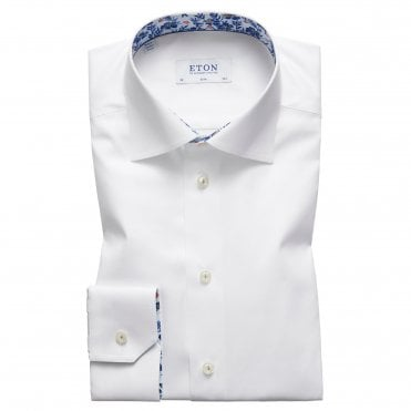 Slim Fit White Eton Shirt With 'Floral' Trim