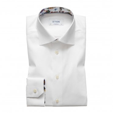Slim Fit White Eton Shirt with Floral Trim