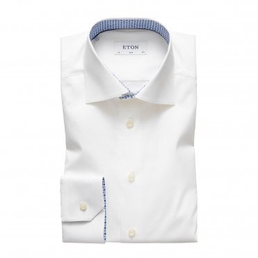 Slim Fit White Eton Shirt with Micro Floral Trim