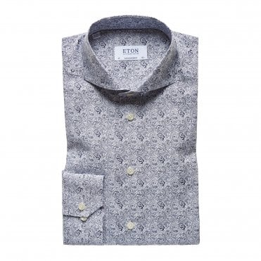 Slim Fit White Eton Shirt with Navy Paisley Print