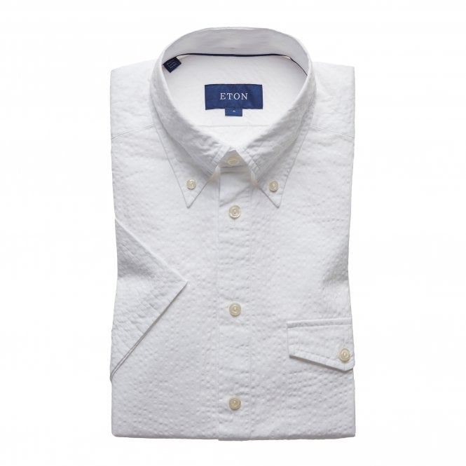 Eton Shirts Slim Fit White Seersucker Eton Shirt