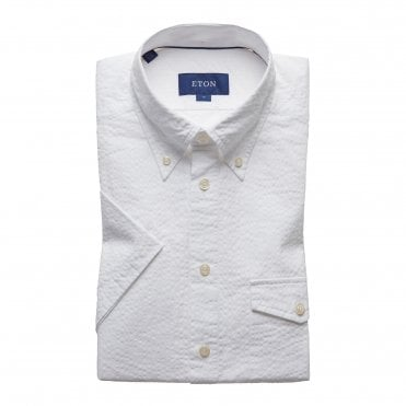 Slim Fit White Seersucker Eton Shirt