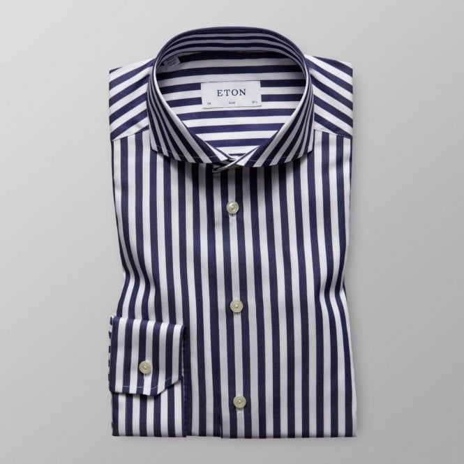 Eton Shirts Slim Fit White Shirt With Dark Blue Stripes 11097351127