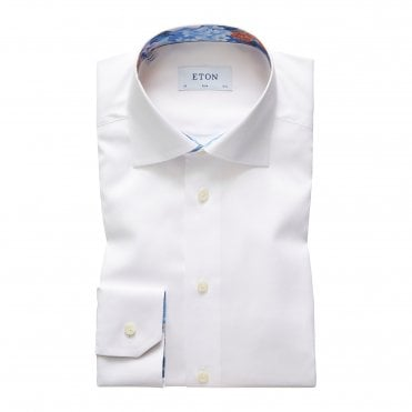 Eton Shirts Slim Fit White Shirt with Flower Trim