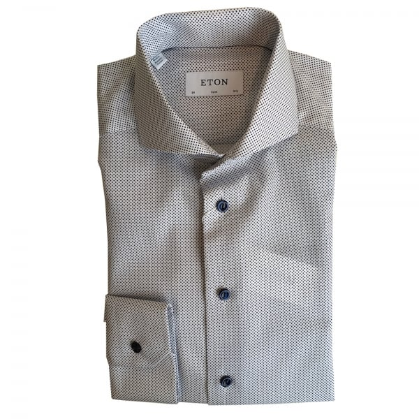 872caf46dcfb Eton Shirts SLIM FIT White Spotted Long-Sleeve Single Cuff Shirt 3225 73544  01