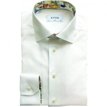 Eton Shirts Slim Fit White With 'Porto' Trim 25670050600