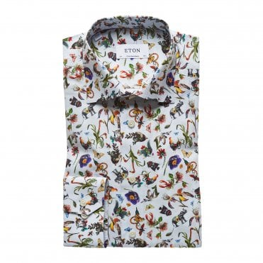 Slim Fit Wildlife Print Eton Shirt