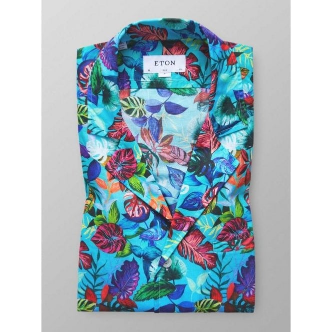 Eton Shirts Turquoise Short-Sleeve Shirt With Floral Print In Muslin Cotton 06400068823