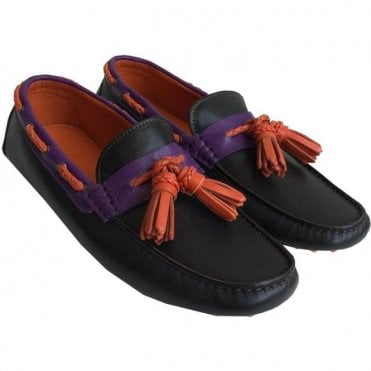 Etro Black Leather Loafers With Purple And Orange Detailing 11202 2725 100