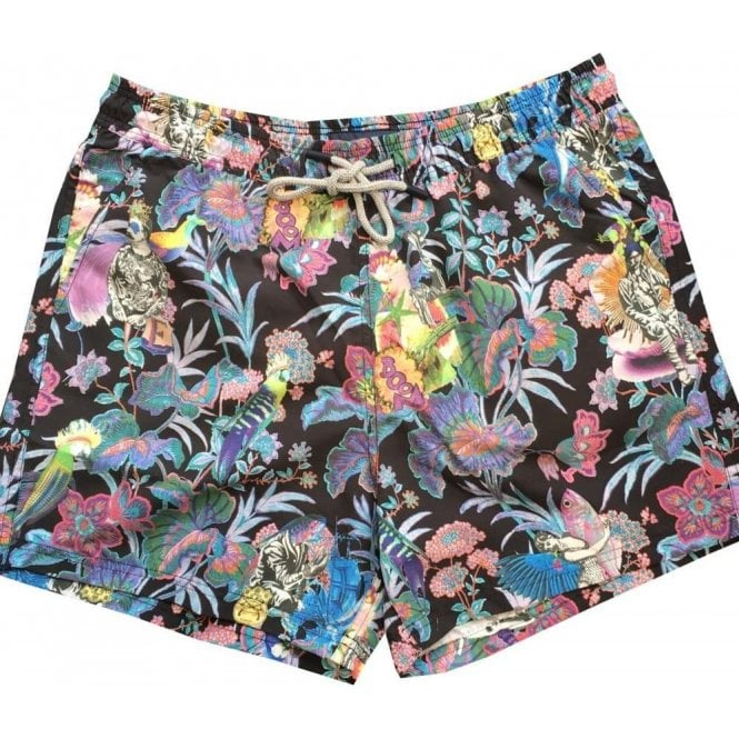 Etro Black Swimming Shorts With Fish & Floral Print 1B100 4768 8000