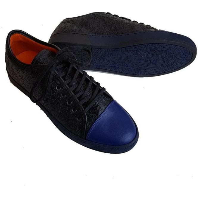 Etro Blue/Black Leather Print Sneakers 12501 2522 0001