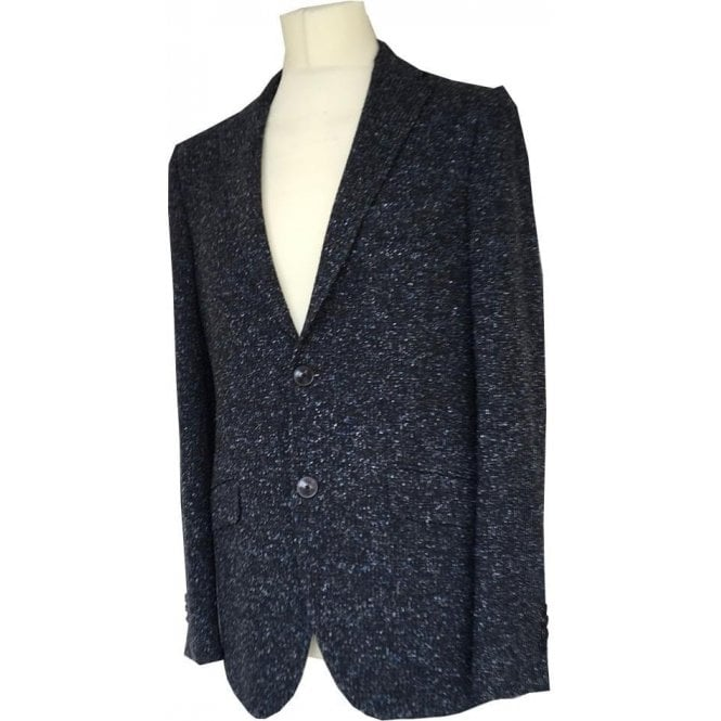 Etro Blue/Black Melange Combo Wool Suit Jacket U1187Q 0136 2