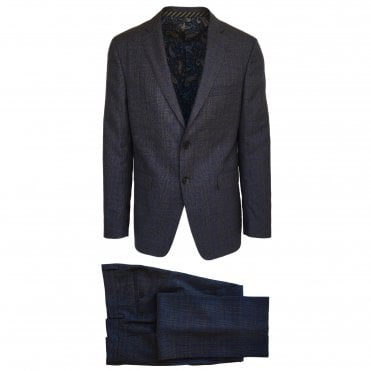 Etro Blue, Brown and Grey Check Suit