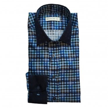 Etro Blue Check Shirt with Paisley Pattern Collar and Cuff