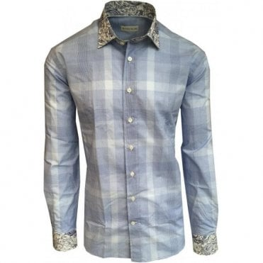 Etro Blue Cross Pattern Shirt With Contrasting Paisley Trims 12910 6208 0250