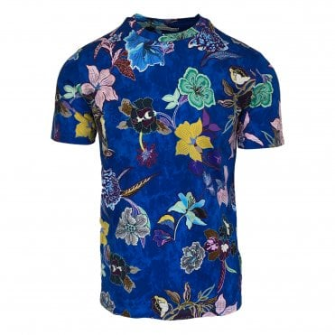 Etro Blue Floral Pattern T-Shirt
