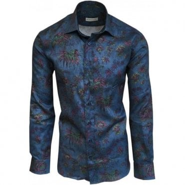 Etro Blue Floral Print Shirt In Italian Cotton 12908 4786 0201