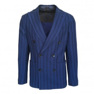 Etro Blue Knitted Double Breasted Jersey Jacket