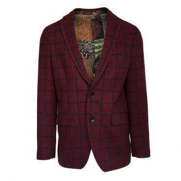 Etro Burgundy Jacket with Navy Check