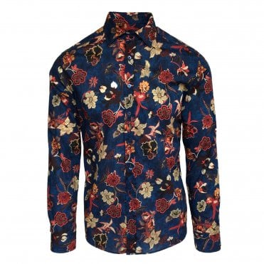 Etro Dark Blue Floral Shirt