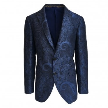 Etro Dark Blue Jacket with Subtle Paisley Pattern