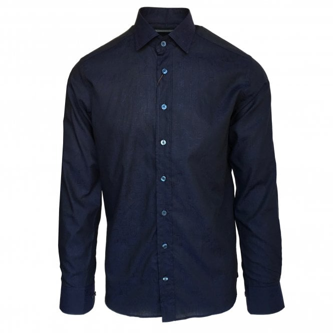 Etro Dark Blue Jacquard Pattern Shirt