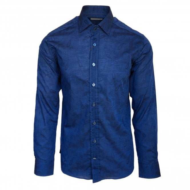 Etro Dark Blue Mini Paisley Pattern Shirt