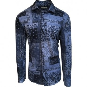 Etro Dark Blue Paisley Pattern Shirt In Italian Cotton 11451 4094 0200