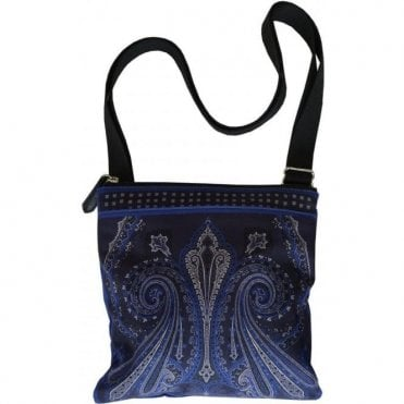 Etro Dark Blue Paisley Print Small Shoulder Bag 1H757 8019 0200