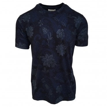 Etro Dark Blue Subtle Floral Pattern T-Shirt