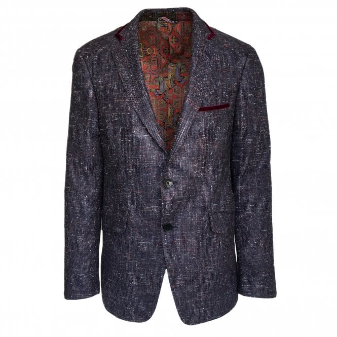 Etro Grey Jacket with Red Velvet Piping