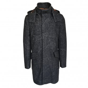 Etro Grey Overcoat with Subtle Paisley Pattern
