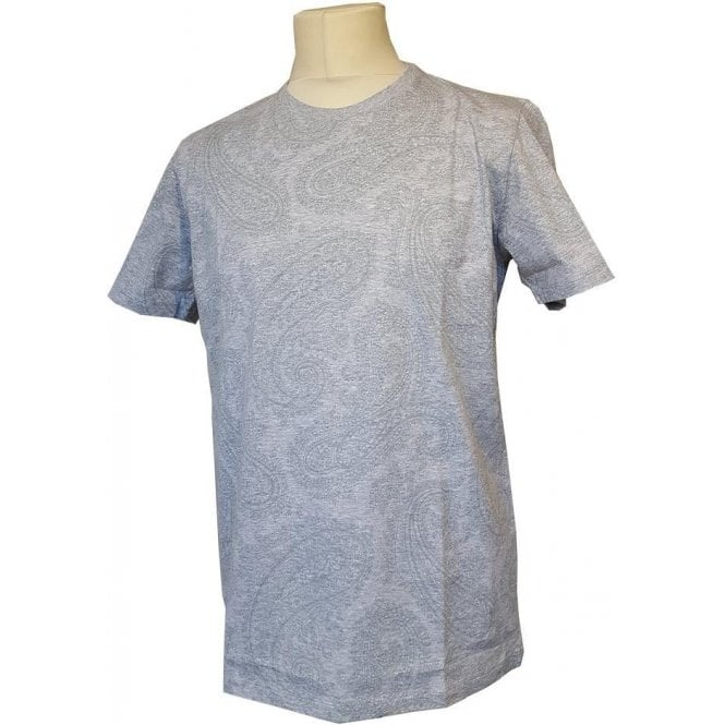 Etro Grey Short-Sleeve Crewneck T-Shirt With Green Paisley Pattern 1Y020 9230 3