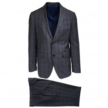 Etro Grey Suit with Subtle Beige Check