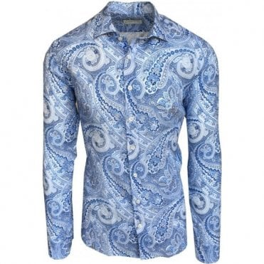 Etro Light Blue Paisley Print Linen Shirt 16376 6510 0200