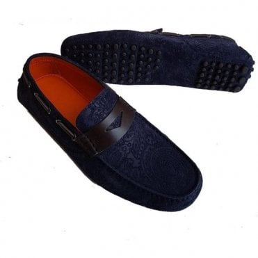 Etro Men's Dark Blue Leather/Suede Print Loafers 11078 2482 0200