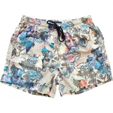 Etro Multicoloured Swimming Shorts With Facial Print 1B100 4793 0991