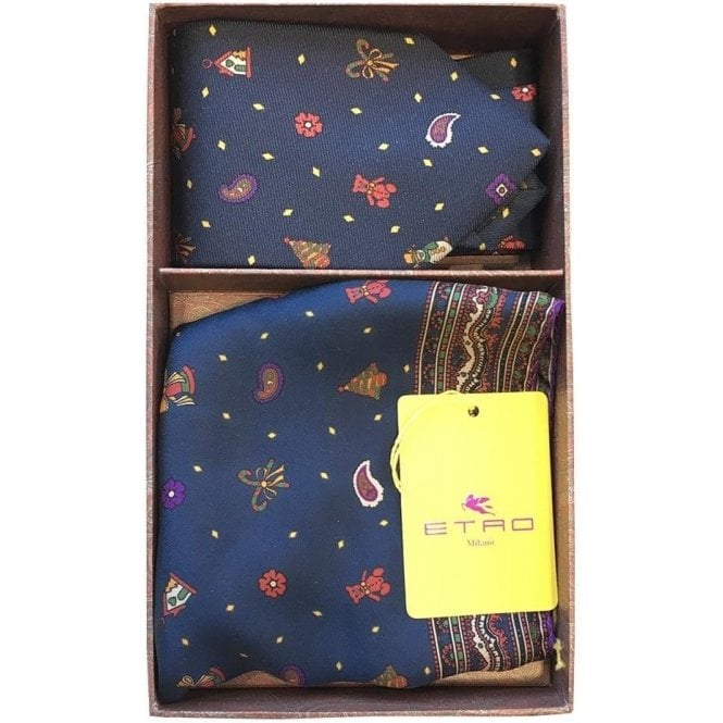 Etro Navy Christmas Theme Silk Gift Set Including Pocket Square and Tie 7153 0200