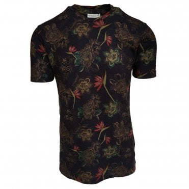 Etro Navy Floral Pattern T-Shirt