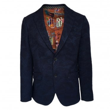 Etro Navy Jacket with Subtle Paisley Pattern