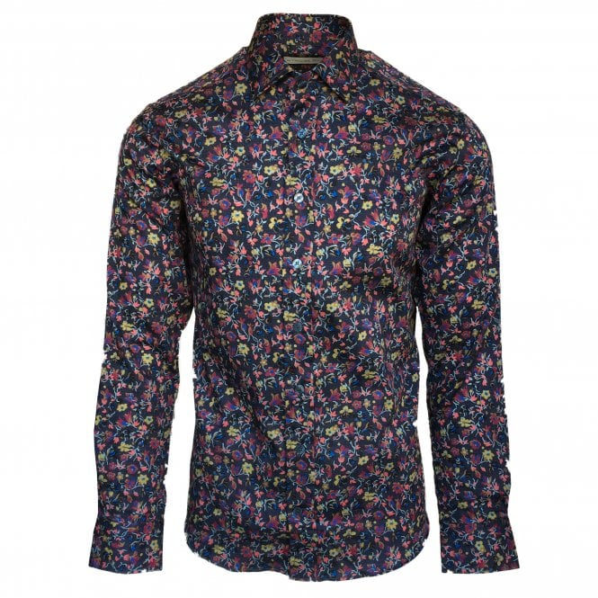 Etro Navy Shirt with Multi-Colour Flower Pattern